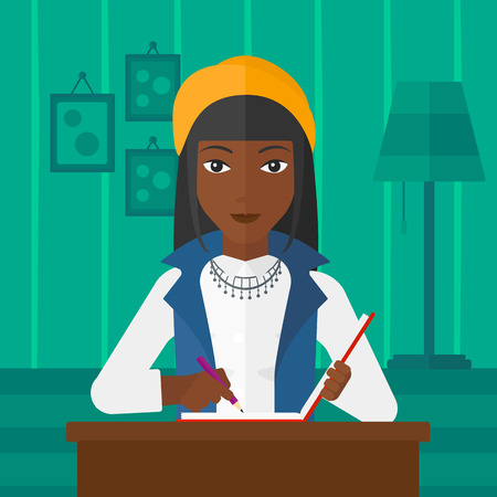 article: An african-american woman sitting at the table and writing an article in writing-pad on the background of room vector flat design illustration. Square layout.