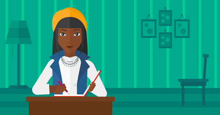 article writing: An african-american woman sitting at the table and writing an article in writing-pad on the background of room vector flat design illustration. Horizontal layout. Illustration