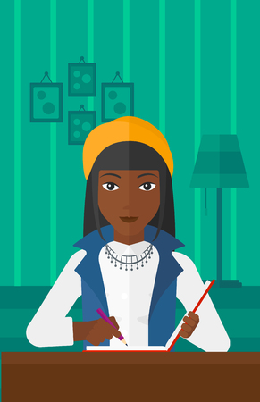 article: An african-american woman sitting at the table and writing an article in writing-pad on the background of room vector flat design illustration. Vertical layout. Illustration