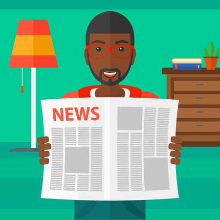 newspaper headline: An african-american man reading the newspaper with his article on the backround of room vector flat design illustration. Square layout.