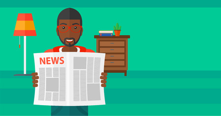 gazette: An african-american man reading the newspaper with his article on the backround of room vector flat design illustration. Horizontal layout.