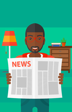 gazette: An african-american man reading the newspaper with his article on the backround of room vector flat design illustration. Vertical layout.