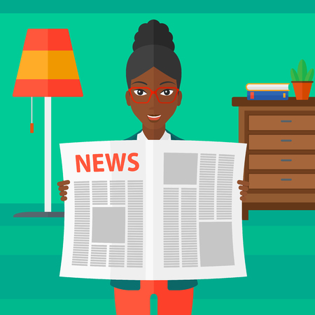 newspaper headline: An african-american woman reading the newspaper with her article on the backround of room vector flat design illustration. Square layout.