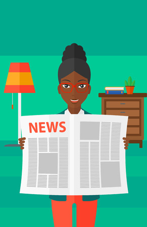 gazette: An african-american woman reading the newspaper with her article on the backround of room vector flat design illustration. Vertical layout. Illustration