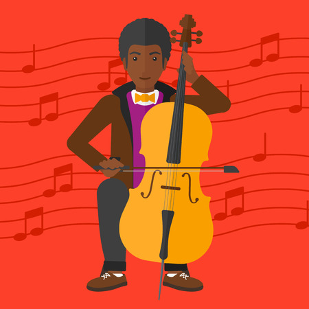 fiddlestick: An african-american man playing cello on a red background with music notes vector flat design illustration. Square layout. Illustration