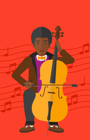 fiddlestick: An african-american man playing cello on a red background with music notes vector flat design illustration. Vertical layout.