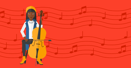 fiddlestick: An african-american woman playing cello on a red background with music notes vector flat design illustration. Horizontal layout.