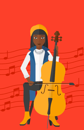 An african-american woman playing cello on a red background with music notes vector flat design illustration. Vertical layout.