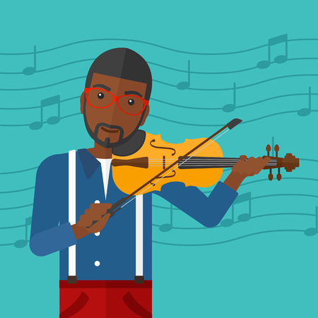 fiddlestick: An african-american man playing violin on a blue background with music notes vector flat design illustration. Square layout.