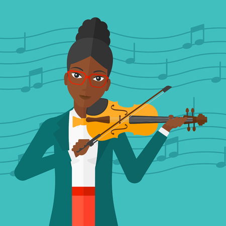 An african-american woman  playing violin on a blue background with music notes vector flat design illustration. Square layout. Ilustrace