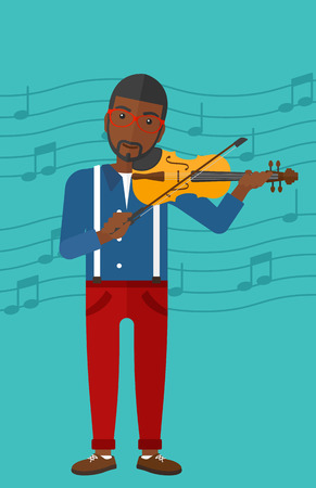 An african-american man playing violin on a blue background with music notes vector flat design illustration. Vertical layout.