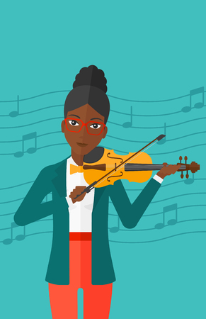soloist: An african-american woman  playing violin on a blue background with music notes vector flat design illustration. Vertical layout.