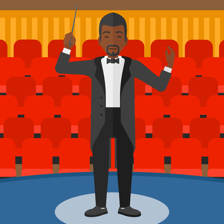 concert hall: An african-american man directing with his baton on the background of concert hall vector flat design illustration. Square layout.