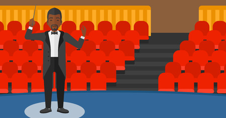 conducting: An african-american man directing with his baton on the background of concert hall vector flat design illustration. Horizontal layout.