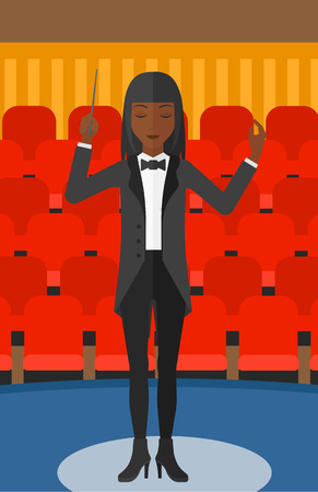 maestro: An african-american woman directing with her baton on the background of concert hall vector flat design illustration. Vertical layout.