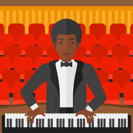 pianoforte: An african-american musician playing piano on the background of concert hall vector flat design illustration. Square layout. Illustration