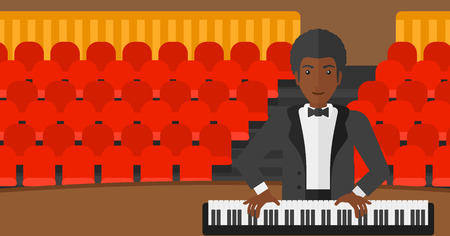 An african-american musician playing piano on the background of concert hall vector flat design illustration. Horizontal layout.