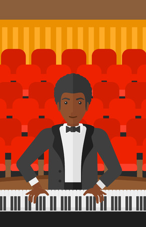 concert hall: An african-american musician playing piano on the background of concert hall vector flat design illustration. Vertical layout.