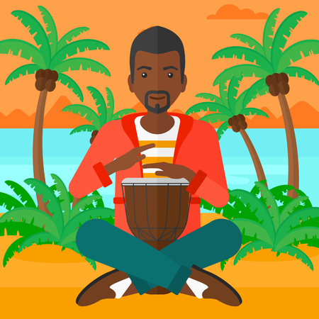 An african-american man playing tomtom on the background of tropical beach with palm trees and the sea vector flat design illustration. Square layout. Illusztráció