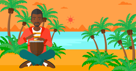 'palm trees': An african-american man playing tomtom on the background of tropical beach with palm trees and the sea vector flat design illustration. Horizontal layout.
