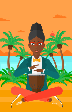 tam: An african-american woman playing tomtom on the background of tropical beach with palm trees and the sea vector flat design illustration. Vertical layout. Illustration