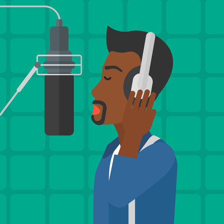vocalist: An african-american man man in headphones making a record of her voice in studio vector flat design illustration. Square layout. Illustration