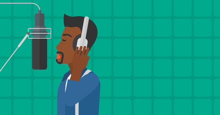 An african-american man in headphones making a record of her voice in studio vector flat design illustration. Horizontal layout.