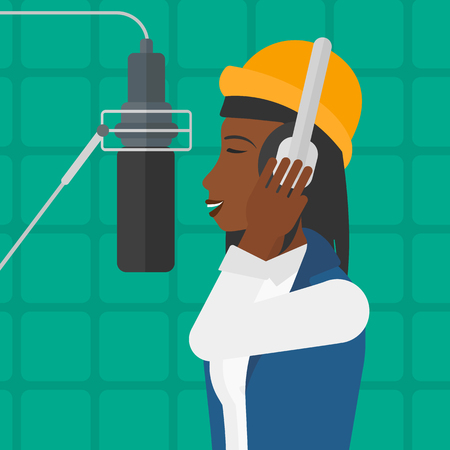 vocalist: An african-american woman in headphones making a record of her voice in studio vector flat design illustration. Square layout.