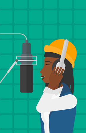 vocalist: An african-american woman in headphones making a record of her voice in studio vector flat design illustration. Vertical layout. Illustration