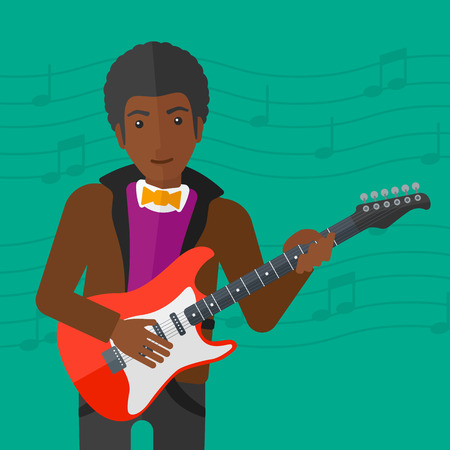 strum: An african-american man playing electric guitar on a light green background with music notes vector flat design illustration. Square layout. Illustration