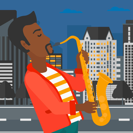 african sax: An african-american man playing saxophone on a night city background vector flat design illustration. Square layout.