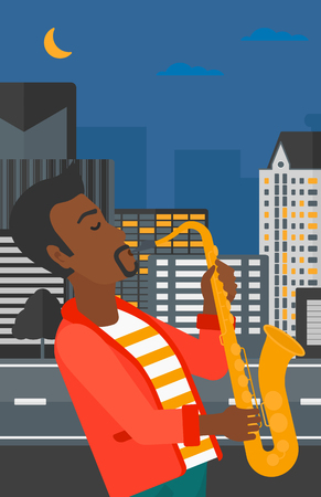 soloist: An african-american man playing saxophone on a night city background vector flat design illustration. Vertical layout.