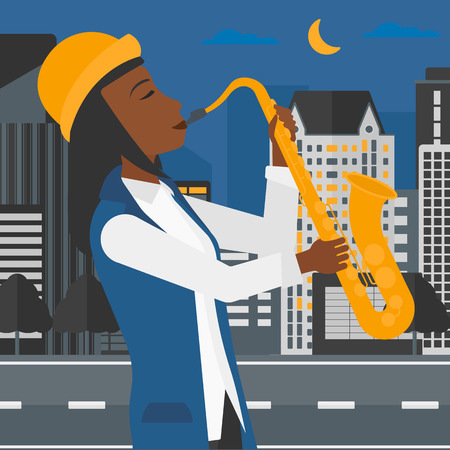 An african-american woman playing saxophone on a night city background vector flat design illustration. Square layout. Illustration