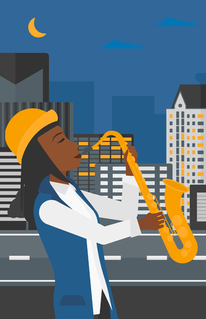 soloist: An african-american woman playing saxophone on a night city background vector flat design illustration. Vertical layout. Illustration