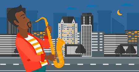 african sax: An african-american man playing saxophone on a night city background vector flat design illustration. Horizontal layout.