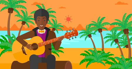 An african-american man sitting on a log and playing a guitar on the background of tropical beach with palm trees and the sea vector flat design illustration. Horizontal layout.