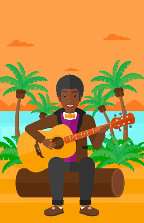 cartoon palm tree: An african-american man sitting on a log and playing a guitar on the background of tropical beach with palm trees and the sea vector flat design illustration. Vertical layout.