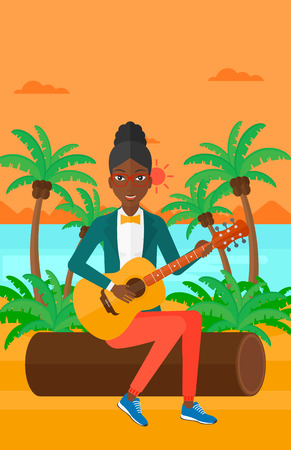 lanscape: An african-american woman sitting on a log and playing a guitar on the background of tropical beach with palm trees and the sea vector flat design illustration. Vertical layout. Illustration