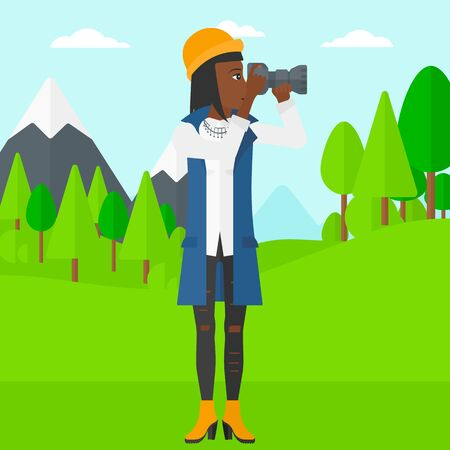 An african-american woman taking photo on the background of green forest and mountains vector flat design illustration. Square layout. Illustration