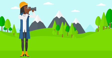 electronic device: An african-american woman taking photo on the background of green forest and mountains vector flat design illustration. Horizontal layout. Illustration