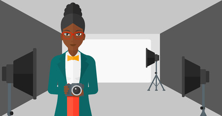 cartoon umbrella: An african-american woman holding a camera on the background of photo studio with lighting equipment vector flat design illustration. Horizontal layout. Illustration