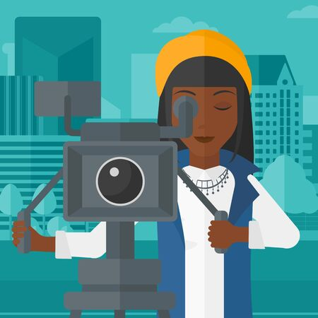 An african-american camerawoman looking through movie camera on a city background vector flat design illustration. Square layout. 向量圖像