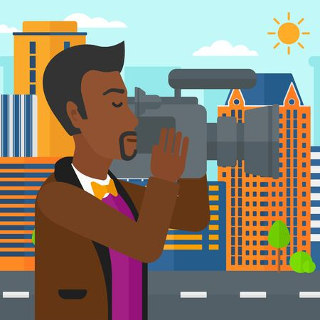 cinematographer: An african-american cameraman with video camera taking a video on a city background vector flat design illustration. Square layout.