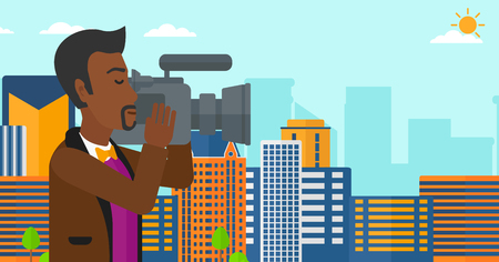 An african-american cameraman with video camera taking a video on a city background vector flat design illustration. Horizontal layout.