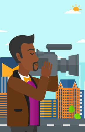 cinematographer: An african-american cameraman with video camera taking a video on a city background vector flat design illustration. Vertical layout. Illustration