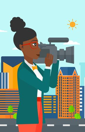 cinematographer: An african-american camerawoman with video camera taking a video on a city background vector flat design illustration. Vertical layout.
