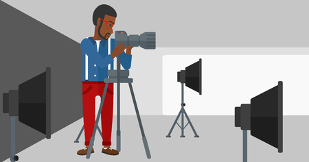 lighting equipment: An african-american man working with camera on the background of photo studio with lighting equipment vector flat design illustration. Horizontal layout. Illustration