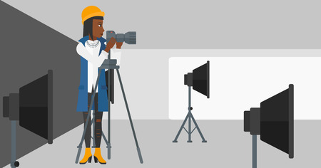 lighting equipment: An african-american woman working with camera on the background of photo studio with lighting equipment vector flat design illustration. Horizontal layout.