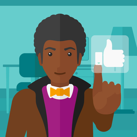 An african-american man pressing like button on the background of apartment vector flat design illustration. Square layout.