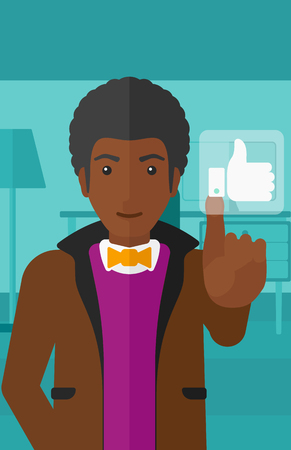 like button: An african-american man pressing like button on the background of apartment vector flat design illustration. Vertical layout.